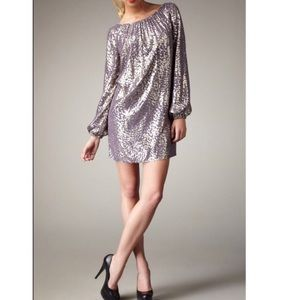 Shoshanna Metallic Dotted Silk Shift Dress Purple